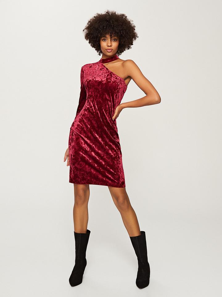 Welurowa sukienka z jednym rękawem