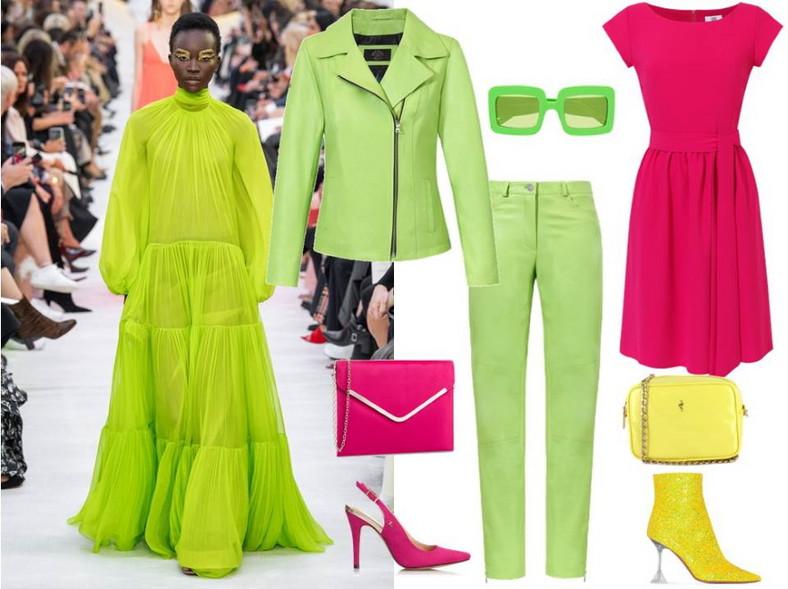 Neony znowu nadają wyrazu naszym stylizacjom. Nie bójmy się tych mocnych, jaskrawych kolorów, dodają pazura! NA ZDJĘCIU:neonowy komplet- Fratelli/ fratelli.com.pl, różowa sukienka - Midori Feminine Fashion/ midori.pl, różowe buty - Menbur/ menbur.pl, torebki- Menbur/ menbur.pl, żółte buty i okulary - TK Maxx.
