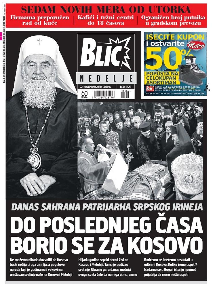 Naslovna za 22.11.2020. Blic