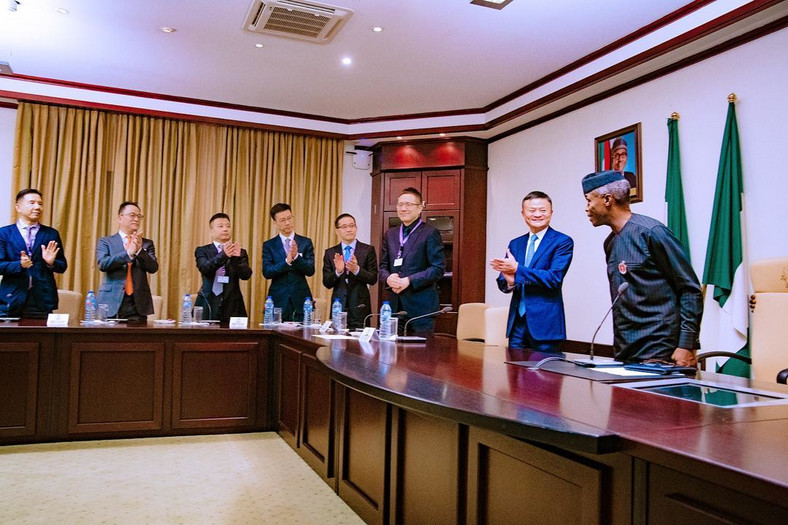 Osinbajo, Jack Ma meet to discuss opportunities in Nigeria's digital economy. [Twitter/@NigeriaGov]