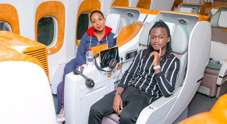 Bahati rocking his new hairstyle alongside Diana Marua (Bonfire Adventures)