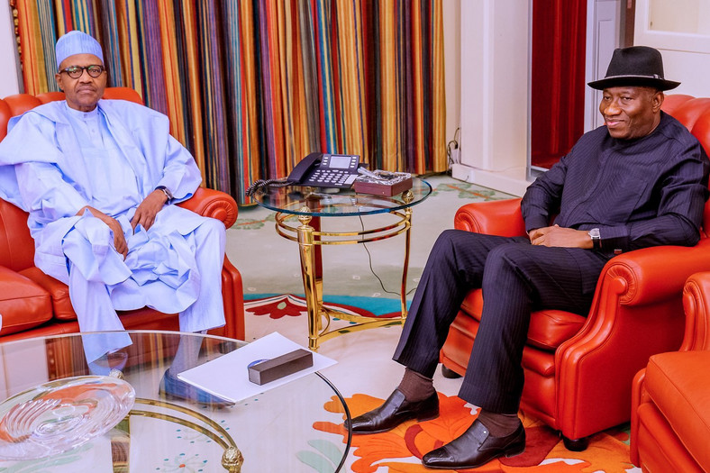 President Muhammadu Buhari receives Former President Goodluck Jonathan at the Presidential Villa on Tuesday, July 21, 2020. [Twitter/@BashirAhmaad]