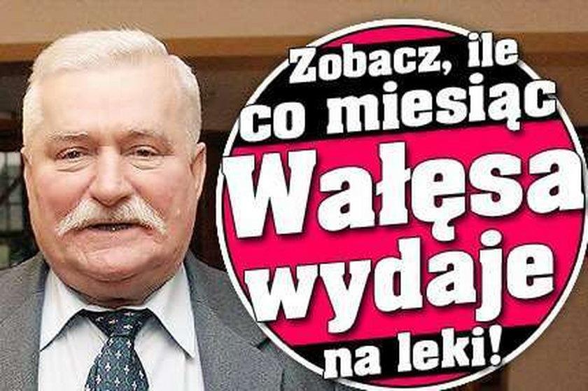 Zobacz, ile co miesiąc Wałęsa wydaje na leki!