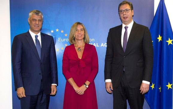 Hašim Tači, Federika Mogerini i Aleksandar Vučić u Briselu