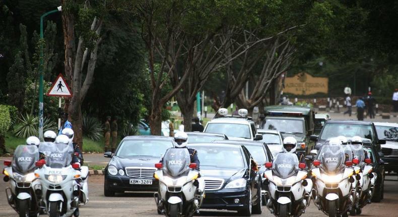 File image of President Uhuru Kenyatta's motorcade.