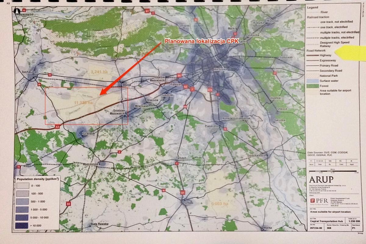 Mapa pokazuje potencjalne lokalizacje. Ta w rejonie Stanisławowa dysponuje niemal 4-krotnie większym areałem niż wymagane 3 tys. ha pod budowę CPK