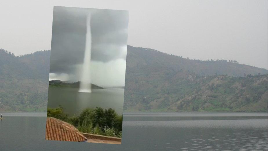 Trąba wodna nad jeziorem Burera w Rwandzie