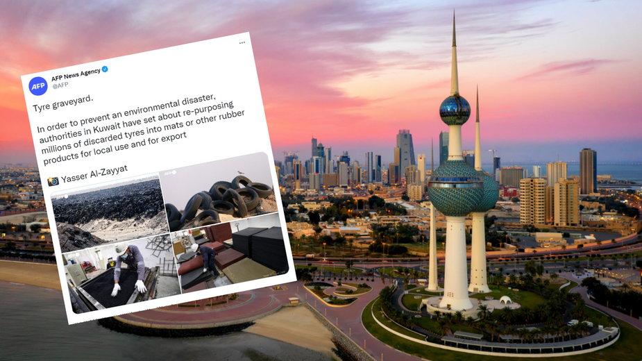 Wysypisko opon znajduje się w okolicach miasta Kuwejt - stolicy kraju (Fot. Twitter/AFP News Agency
