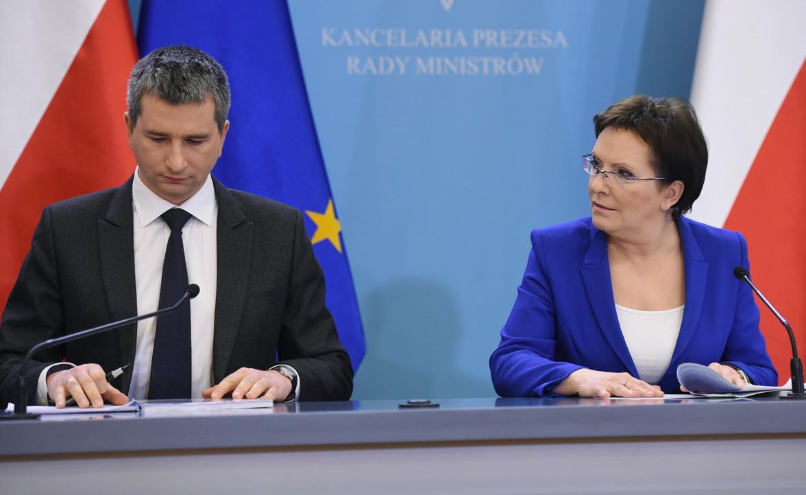 Ewa Kopacz i Mateusz Szczurek podczas konferencji prasowej