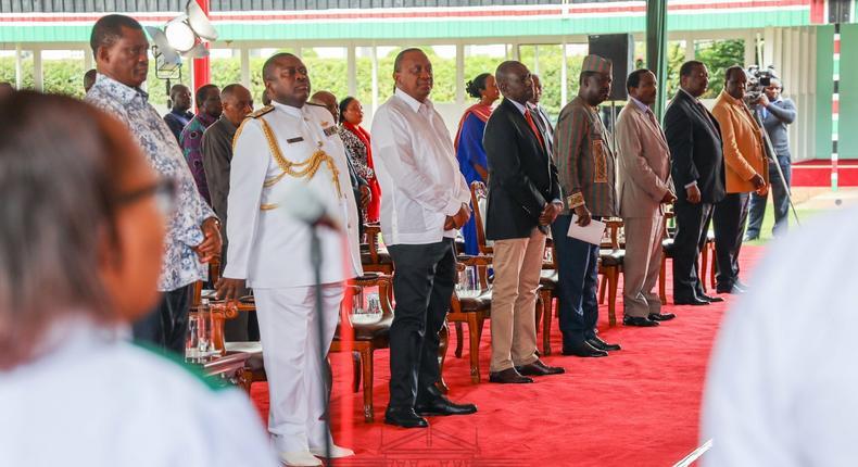 Uhuru, Raila and DP Ruto meet at State House for the National Day of Prayer Coronavirus pandemic