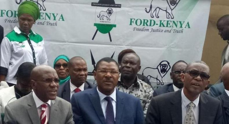 File image of Bonny Khalwale, Moses Wetangula and Esseli Simiyu. Ford Kenya has distanced itself from any deal with DP Ruto
