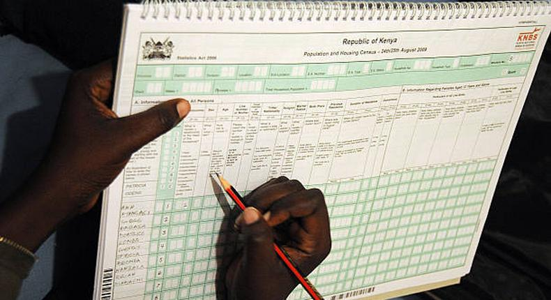 A KNBS official enters data manually during the 2009 national census (Twitter)