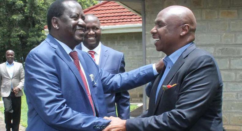 ODM leader Raila Odinga (left) is welcomed by Baringo Senator Gideon Moi to Kabarak