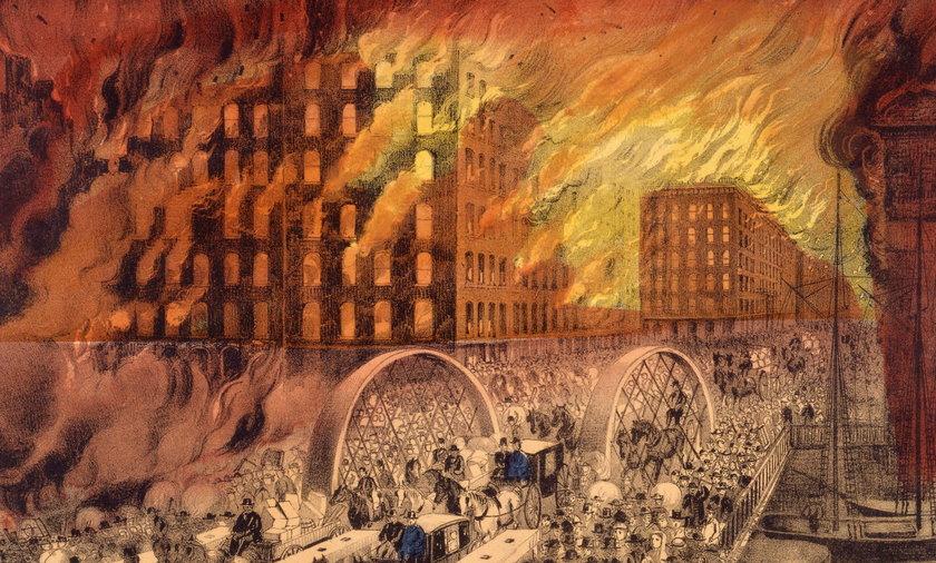 Pożar Chicago na ilustracji z epoki