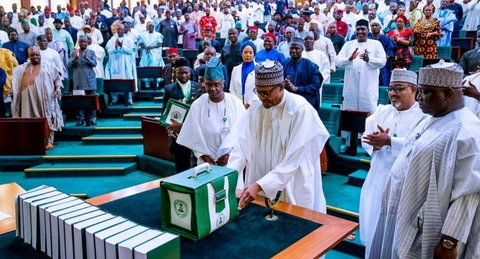President Buhari presents N10.33 trillion 2020 budget to Senate, in which N2.45 trillion was allocated to debt servicing. [Guardian]