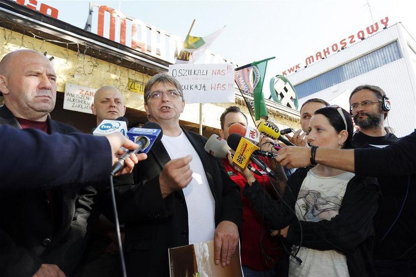 Konferencja prasowa przed bramą KWK Makoszowy