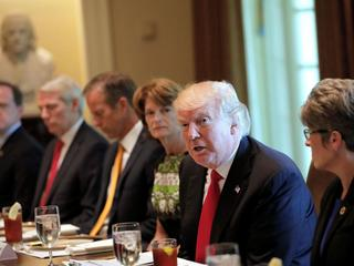 U.S. President Trump attends a lunch meeting with members of Congress at the Cabinet Room of the Whi