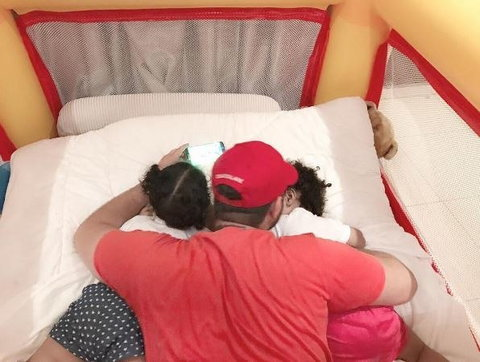 Nadia Buari's twin girls and baby daddy