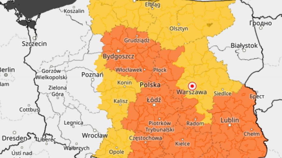 Ostrzeżenia metereologiczne IMGW dla Polski na 2807