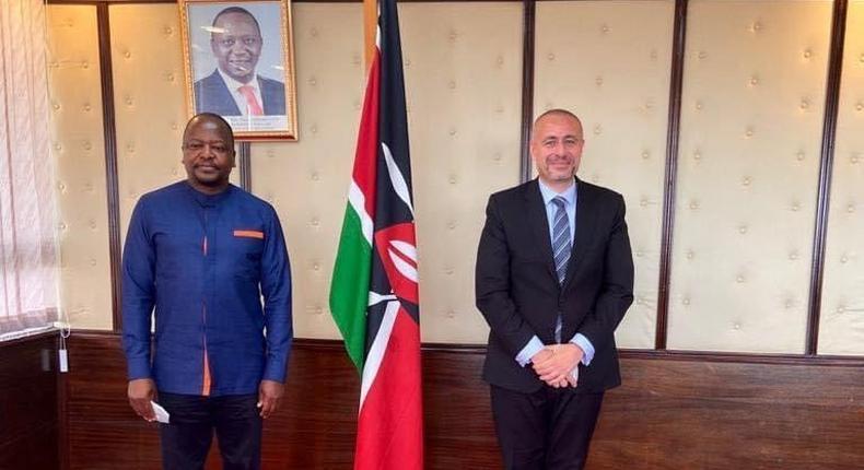 Health CS Mutahi Kagwe with Egyptian Ambassador Khaled ElAbyad