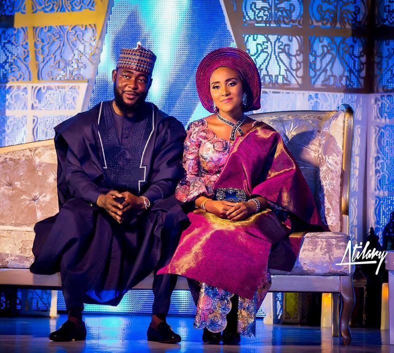 Fatima Dangote and Jamil Abubakar at their wedding in Abuja.