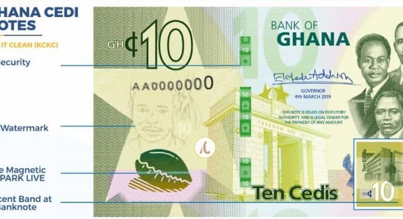 Upgraded Ghana cedi note