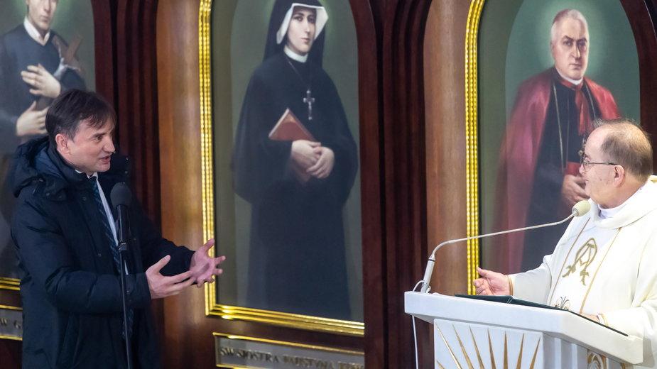 Zbigniew Ziobro i Tadeusz Rydzyk podczas 29. urodzin Radia Maryja