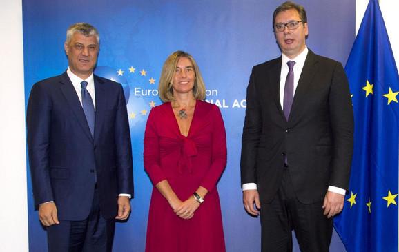 Dijalog podignut na viši nivo: Hašim Tači, Federika Mogerini i Aleksandar Vučić
