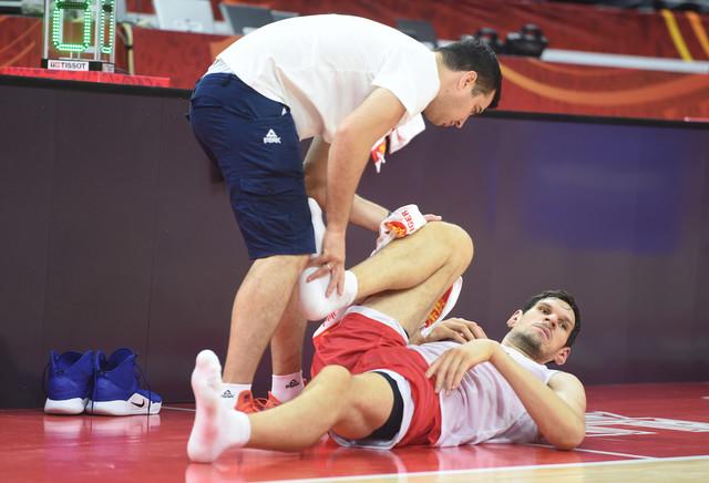 Boban Marjanović na treningu košarkaške reprezentacije Srbije