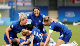 Chelsea head to Gothenburg fresh from winning the English WSL and after dumping out German powerhouses Wolfsburg and Bayern Munich in the last two rounds Creator: Adrian DENNIS