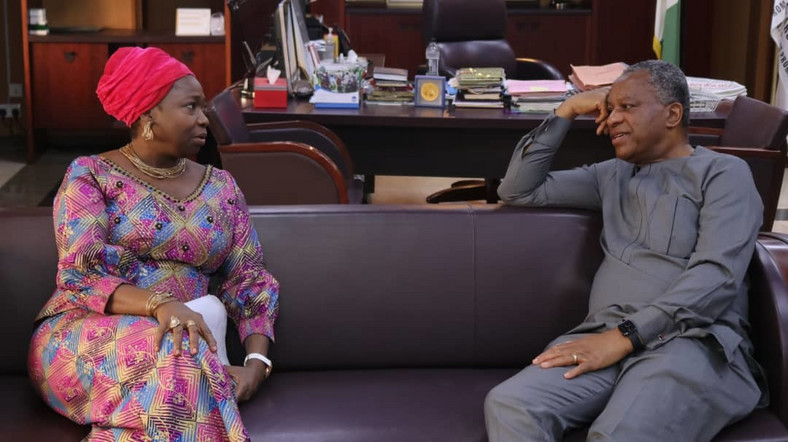 Chairman/CEO Nigerians in Diaspora Commission (NIDCOM), Hon. Abike Dabiri-Erewa and Foreign Affairs Minister, Geoffrey Onyeama. [Twitter]