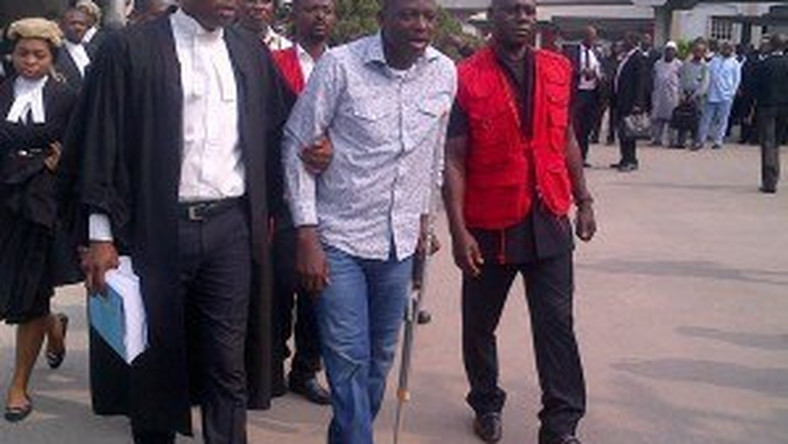 Patrick Akpobolokemi on crutches