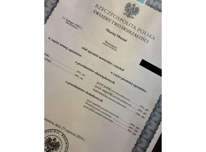 wyniki matury Macieja Musiała zamieszczone na oficjalnym profilu aktora