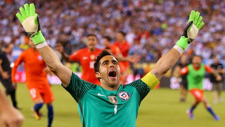 Chile goalkeeper Claudio Bravo celebrates after his team's victory over Argentina in the 2016 Copa America Centenario