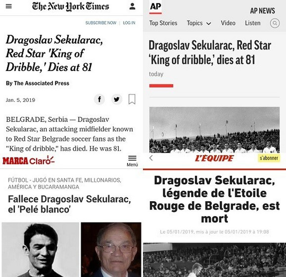 Ovako su se svetski mediji oprostili od Šekularca