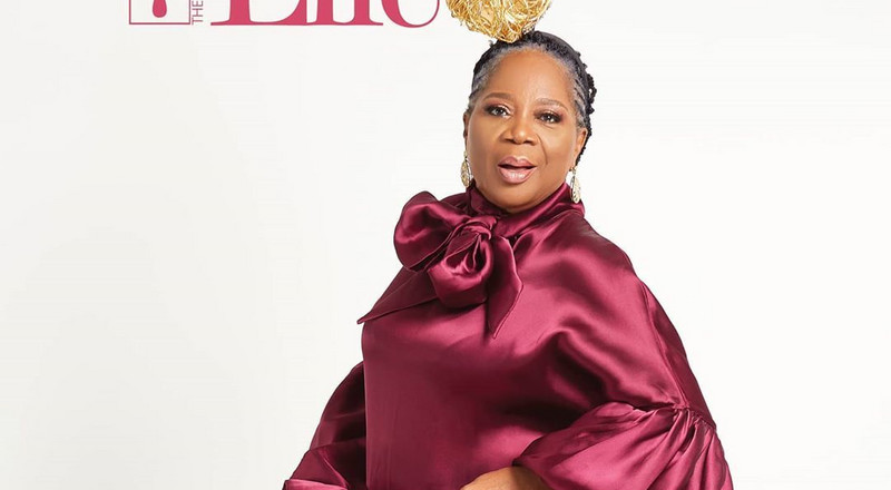 Onyeka Onwenu looks ageless in burgundy on Guardian Life Magazine's latest cover