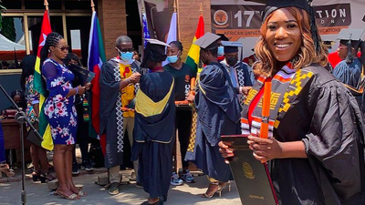 Photos: Victoria 'Nkonkonsa' Lebene gets a Bachelor's Degree from AUCC