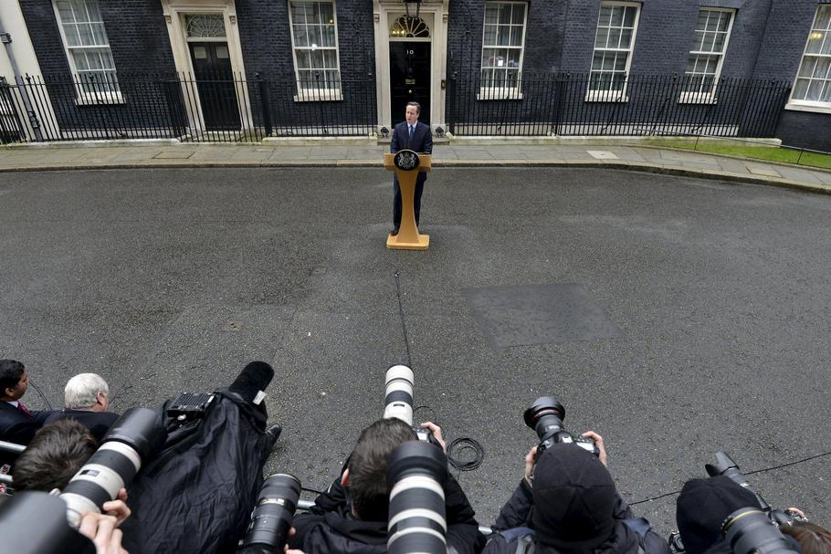 Britain's Prime Minister Cameron speaks outside 10 Downing Street in London