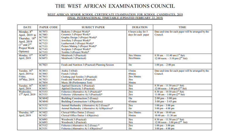 2019 WASSCE Timetable