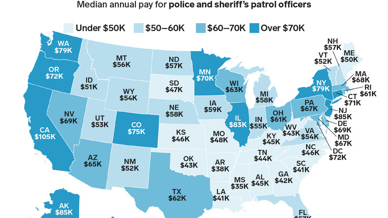 police officer pay by state map