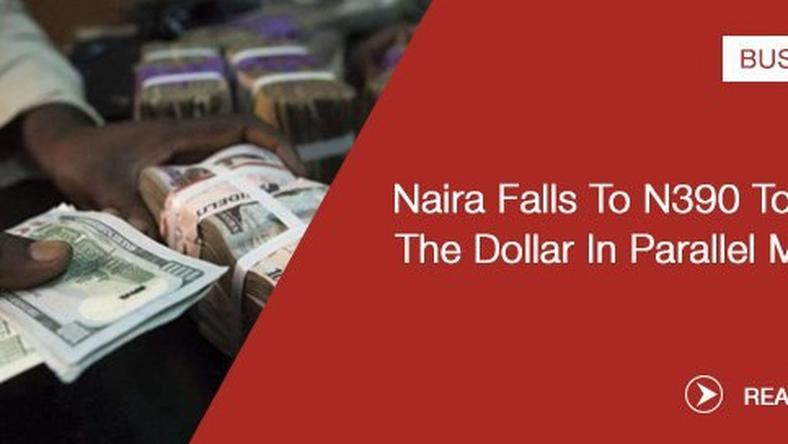 The Value Of Dollar Continued To Diminish Against Naira As Nigerian Currency Was Traded At N390 On Thursday In Abuja