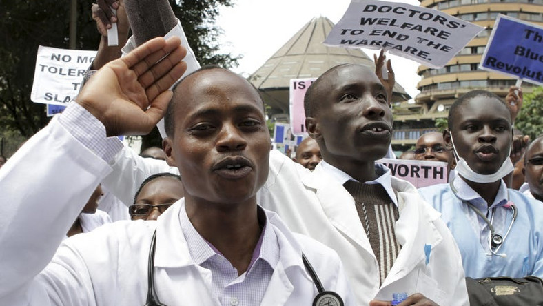 File photo of Kenyan doctors demonstrating. Over 2000 doctors de-registered in new campaign to get rid of quacks