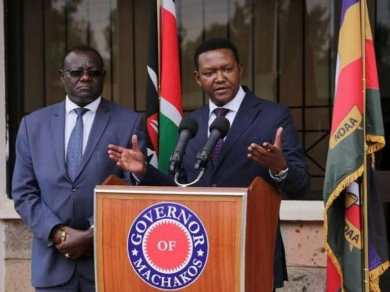 Machakos Governor Alfred Mutua and Deputy Governor Francis Maliti during a press conference