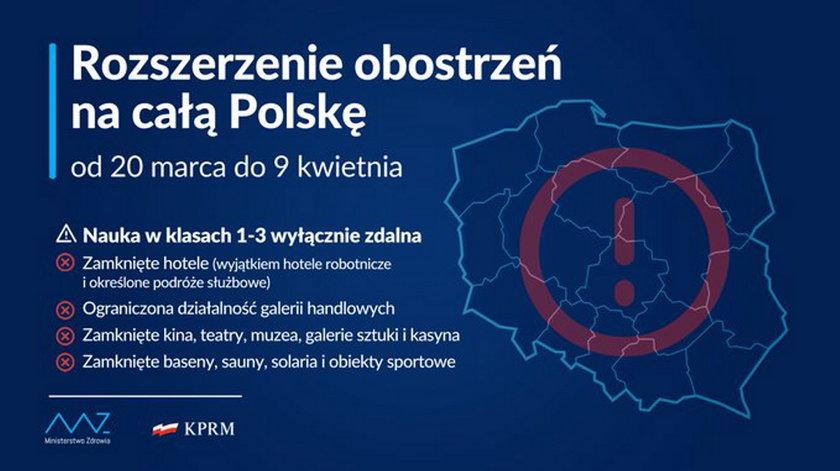 Restrykcje obejmą całą Polskę