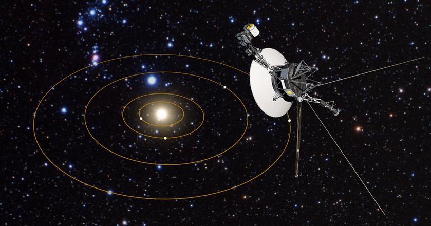 Ilustracja sondy Voyager i złotych dysków, które trafiły do obu statków kosmicznych. Mija właśnie 40 lat od rozpoczęcia misji