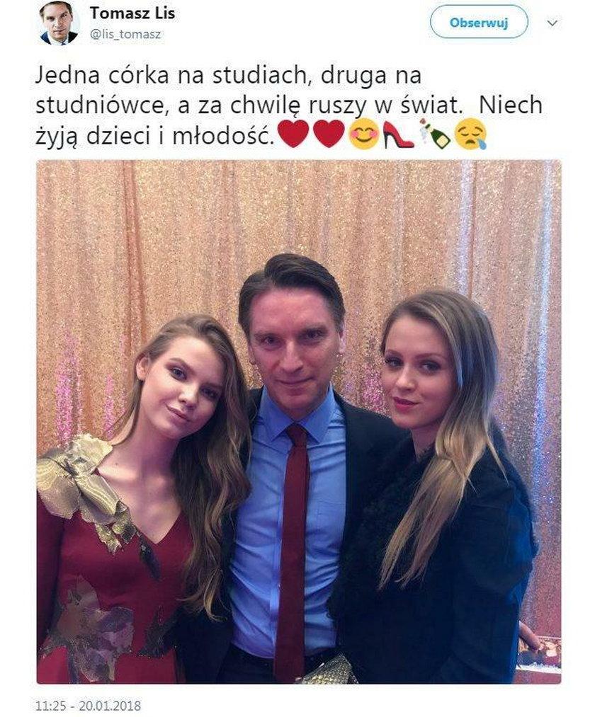 Tomasz Lis z córkami