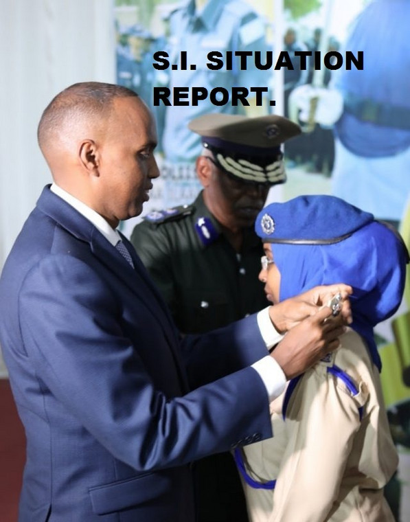 Somali's Prime Minister Hassan Ali Khayre pinning the new badges to Somalia's First Female General, Zakia Hussein Ahmed. (Strategic Intelligence Service)