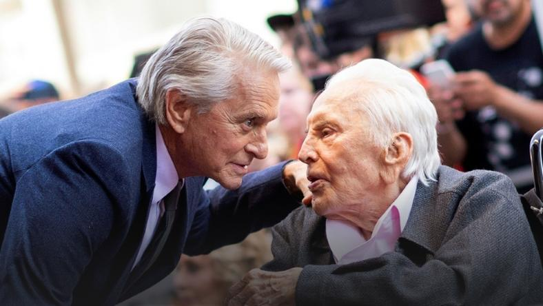 Kirk Douglas is survived by three sons, including the movie star Michael Douglas, pictured left with his father in 2018