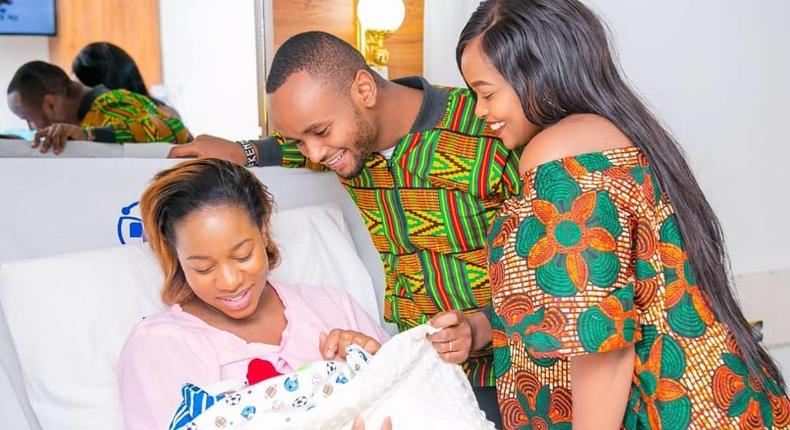 Diana Marua with the Wa Jesus Family. Bahati unveils son's Majesty Bahati face for the first-time (Photo)