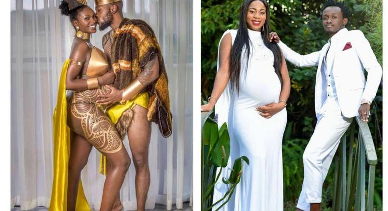 L-R Maureen Waititu and Frankie and Diana Marua and Bahati during their maternity shoots (Instagram)